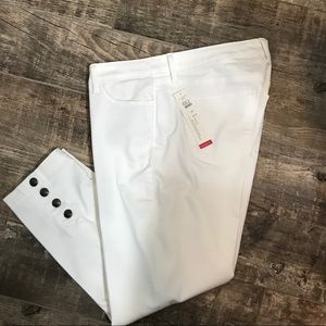 NWT Talbots white denim pants with cuff accents